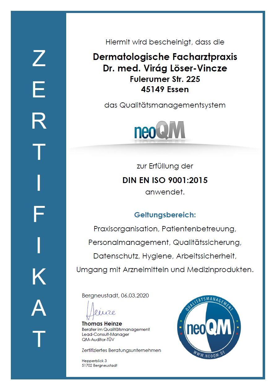 Zertifikat neoQM